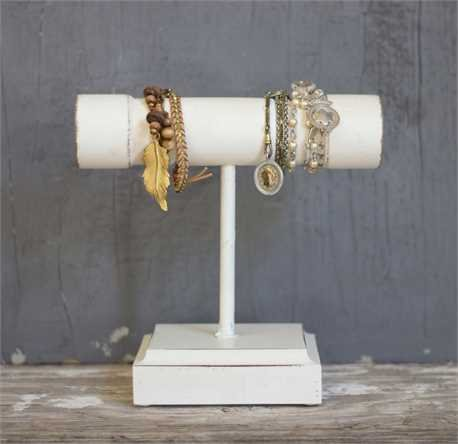 Vintage Style White Wood Bracelet Jewelry Display Stand
