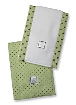 SwaddleDesigns Baby Burpies, Brown Polka Dots on Lime (Set of 2 Burp Cloths) SD-015LM