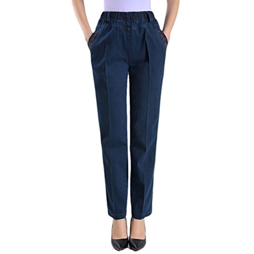 Zhhlaixing Pants Vita Alta Middle Pantaloni Blue Jeans Elasticizzati Mother Dark Donna Embroidery Ladies Aged Xxxxxxl Womens Straight qxBqrw6FY