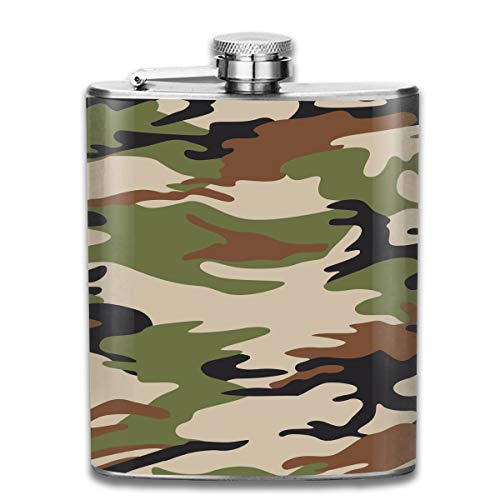 (Oximing Customized Green Camouflage Suit Stainless Steel Wine Bottle, Personalized Flask Gift)