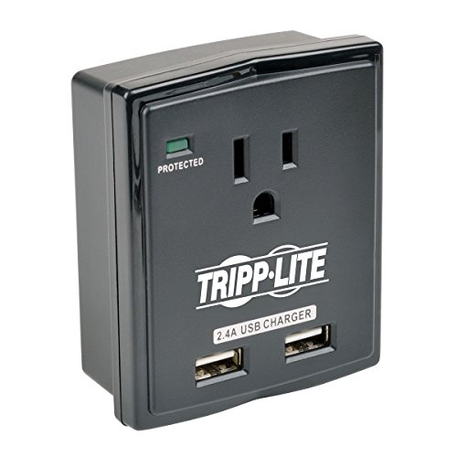 (Tripp Lite 1 Outlet Portable Surge Protector Power Strip, Direct Plug in, 2 USB, $5,000 Insurance (SK10USB))