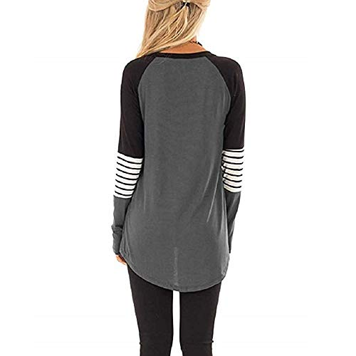 Casual Manches Blouse Sans Grey Longues shirt Block À Stripe Moretime T Women Color Femme HqWpCEw