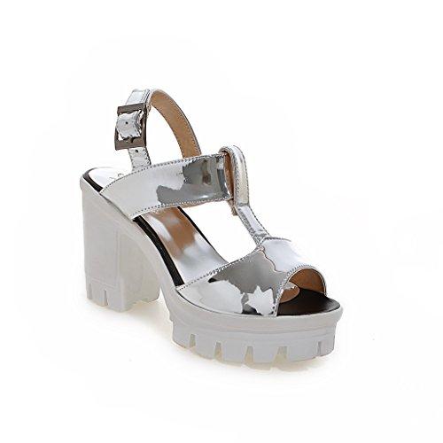 Silver Tacones Sandalias Bloque Peep Qin Mujer Toe amp;x De Iv0q4wx8