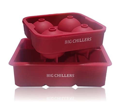 Large Ice Cube Trays for Cocktails- Silicone - Combo Large Square and Sphere Round Silicon Ice Cube Tray Molds Shapes for Whiskey Ice, Cocktails, Beverages