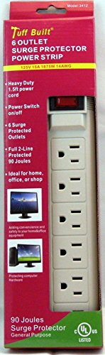 Surge Protector 6 Outlet Power Strip Heavy Duty UL Listed 15 Amp Circuit Breaker - 125V - 15A - 1875W - 14AWG - By Tuff Built Tuff Line Cord