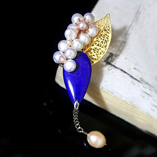 THTHT Brooch Pendant Dual-Use Shell Flower Women's Accessories Lapis Lazuli Leaves Hollowed Out Handmade Corsage Vintage Exquisite High-End Jewelry Luxury