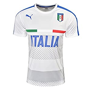 PUMA Men's FIGC Italia Training Jersey, White Team/Power Blue, Large