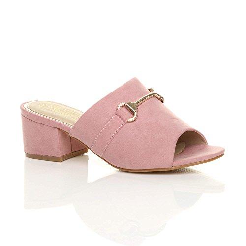 Mittlere Ajvani Flip Größe Back Open Blockabsatzschnalle Womens Pink Sandalen Flops Ladies Mules qqxFrE6