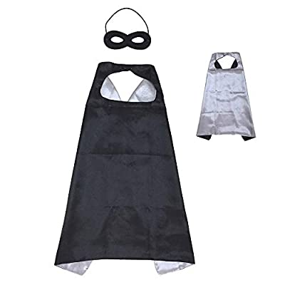 Reversible Kids Superhero Cape with Felt Mask Set for Boys Girls Dress up Costumes Halloween Birthday Party Favors, Black and Silver - 27.5