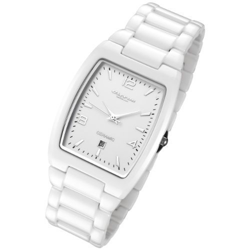Cirros Luxury Unisex White Ceramic Watch with Date Model 2296GW-MD