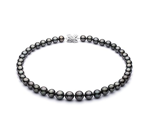 Noir 9-12.2mm AA+-qualité de Tahiti 585/1000 Or Blanc-Collier de perles