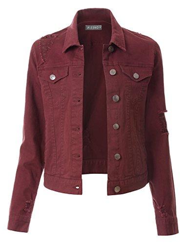 (LE3NO Womens Vintage Distressed Long Sleeve Ripped Boyfriend Denim Jacket)