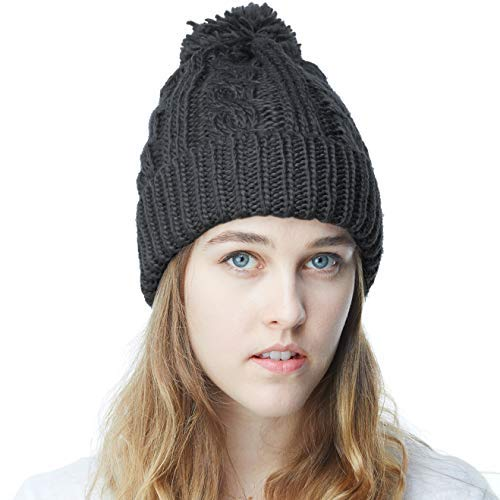 0c6b202c The Hat Depot Winter Thick and Warm Pom Pom Fleece Lined Skully Knit Beanie  Hat (