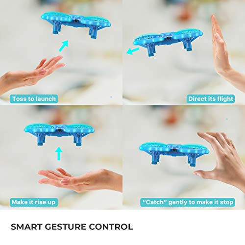 Dragon Touch Mini Drone para Niños con LED Control Remoto Modo sin Cabeza Volteos 3D Estabilización de Altitud RC Quadcopter Drone para Niños Principiantes 2 Baterías DK01