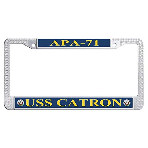 Hensteelna USS Catron APA-71 Sparkle Crystal License Frame U.S. Navy Naval Vessel Glitter Crystal Auto License Tag Holder (White,1 pic, 6' x 12' in)