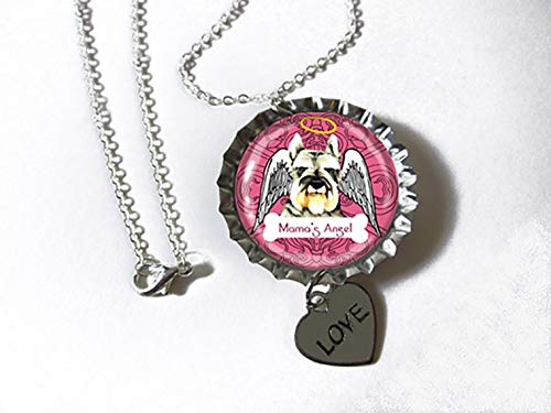 Schnauzer Dog Silvertone Bottlecap Pendant Necklace with Heart Charm FOR a FURRY MAMA MOM ()