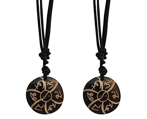 (Divya Mantra Tibetan Om Mani Padme Hum Mantra Pendant Necklace - Set of 2)