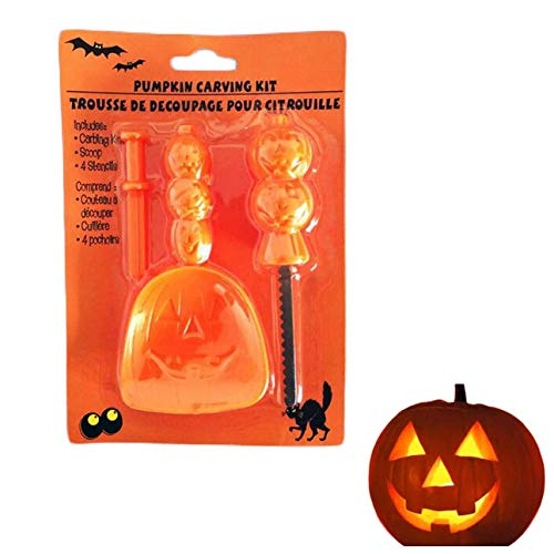 Kul-Kul - Halloween Pumpkin Light Carving Tool Set+LED Candlelight No Sharp-Edge Safe Easy to Use and Clean New Design Metal+Plastic ()