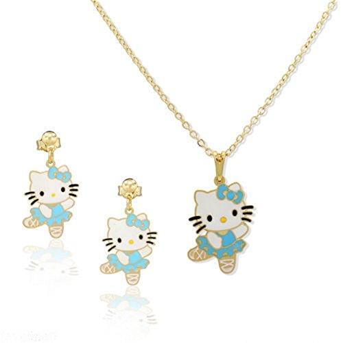 Kids Hello Kitty–niños Set de Joyas de la bailarina azul joyas de oro–oro tono