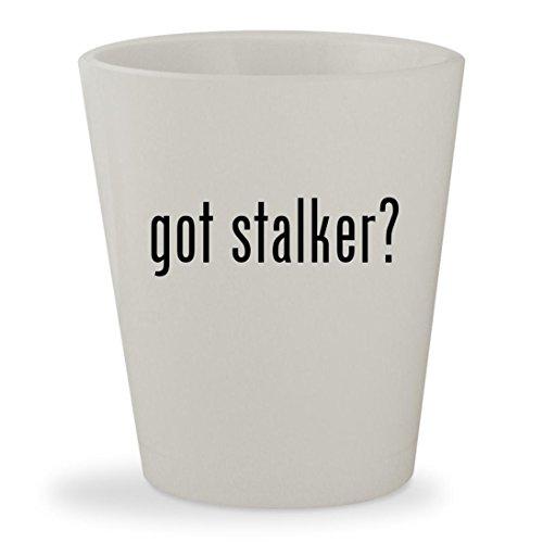 got stalker? - White Ceramic 1.5oz Shot (Kolchak The Night Stalker Costume)