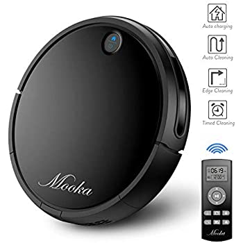 Robot Vacuum Cleaner, MOOKA Self-Charging Robotic Vacuum with Max Suction Power, 2600mAH Battery, HEPA Filter, Suit for Hard Surface Floors & Thin Carpets, ...