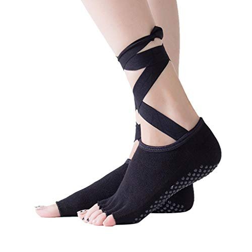 MTENG Women Yoga Toes Warm Socks Five Fingers Ladies Ballet Dance Socks Lace Yoga Socks Non Slip Massage Sport Lace-up Yoga Sock