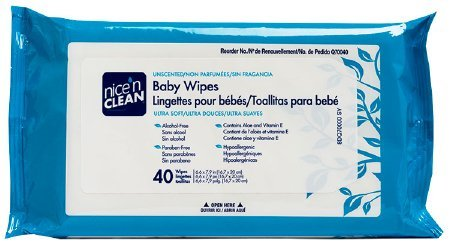 "PDI Healthcare Q70040 Nicen Clean Unscented Premium Baby Wipes, 6.6"" x 7.9"""