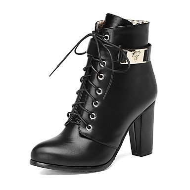 RTRY Women's Shoes Leatherette Winter Fashion Boots Boots Chunky Heel Round Toe Booties/Ankle Boots Zipper Lace-up For Casual Dress Champagne US6 / EU36 / UK4 / CN36 ji1LKTO