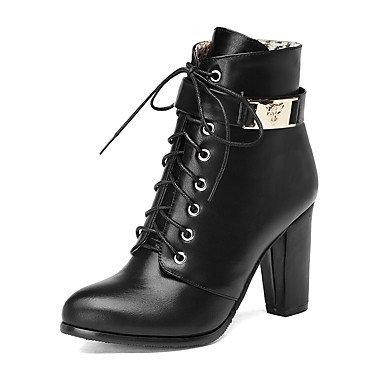 Heart black redondo Con Botas amp;M Mujer Botines Dedo Zapatos Cordón Para Robusto el Tobillo Moda Invierno Semicuero de Botas Cremallera Tacón Hasta rCr1qB7