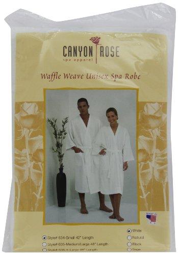 Canyon Rose Unisex Waffle Weave Spa Robe, White, S Canyon Cotton Robe