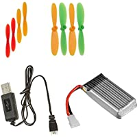Hubsan X4 H107D [QTY: 1] Battery 3.7v 380mAh 25c Li-Po RC Part [QTY: 1] Lipo USB Charger any mAh Auto Shut Off w LED [QTY: 1] Green and Yellow Propeller Blades Props Rotor Set 55mm Propellers Factory
