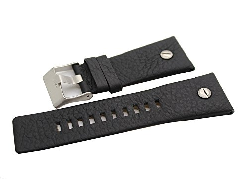 New 22mm Black Leather Watch Band Strap For Diesel