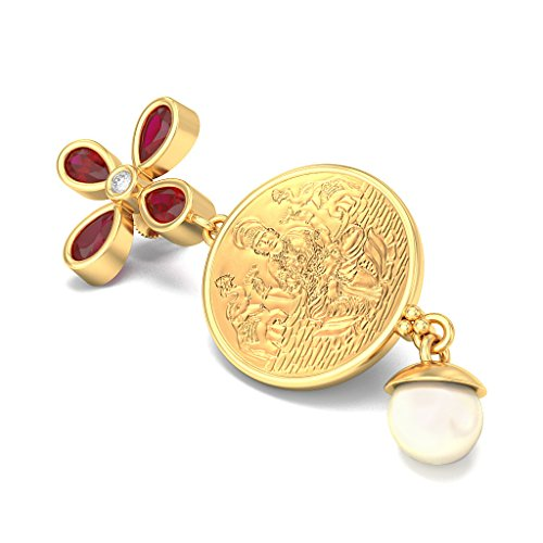 Or jaune 14K 0,06CT TW White-diamond (IJ   SI) et rubis et blanc cassé Perle Boucles d'oreilles