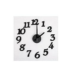 Ouken DIY Design Art Foam Sponge Digit Wall Clock (Black)
