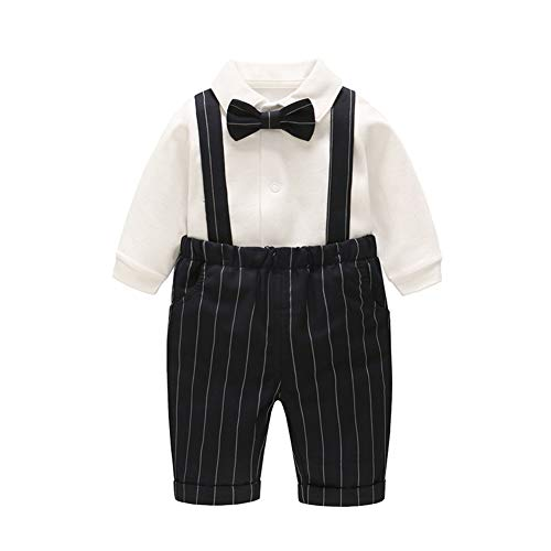 GLMTOU Baby Boys' 2 Piece Gentleman Outfits Suits Infant Long Sleeve Bib Pants Bow Tie Overalls Jumpsuit Clothes Set,18-24M by GLMTOU