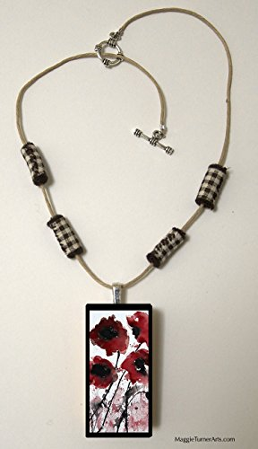Red Poppy Necklace for Girls with Art Pendant and Fabric Beads, Flower Jewelry (Beaded Domino)