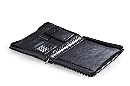 Classic Leather Organizer 3-Ring Padfolio for Letter / A4 Paper
