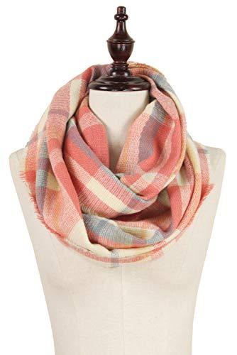 StylesILove Women Stylish Tartan Plaid Infinity Loop Scarf with Fringed Edges (Pink)
