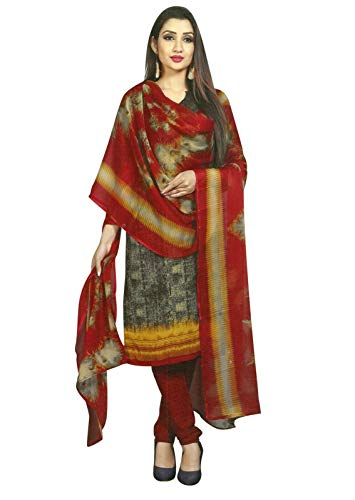 Ready to wear French Crepe Printed Salwar Kameez Suit Indian Pakistani Dress (Size_36/Brown)
