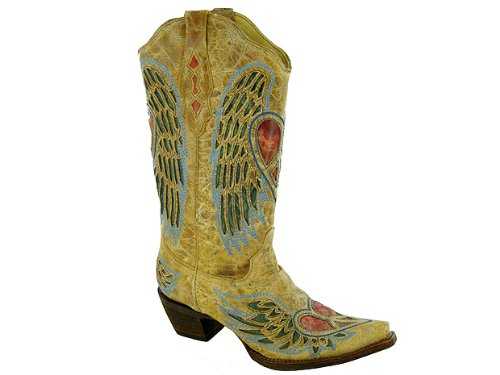 Corral Mujeres Heart Angel Wing Cowgirl Bota Snip Toe - A1976 Antique Saddle, Blue Jean