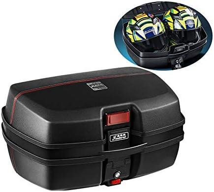 柔らかい背もたれ付きユニバーサルオートバイツアーテールボックススクータートランク荷物トップのロック保管キャリアケースとクイックリリースシステム - 45L容量 - 缶ストア(2)全ヘルメット,黒