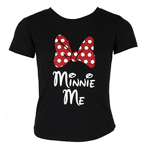 - Disney Minnie Me Red Sparkle Polka Dot Bow T-Shirt for Daughters (Girl's, Medium)