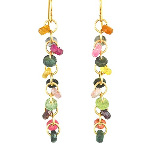 Natural Tourmaline Rain Chain Earrings in 14K Gold Filled; Artisan Crafted One of a (Gold Filled Chain Earrings)