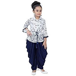 Indian Evergreen Girl's Ethnic Kurti Rayon Patiyala Harem Dhoti Suit for Marriage