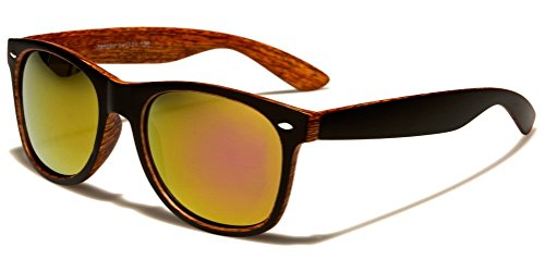 Matte Black & Faux Wood Print Square Sunglasses w/ Flash Iridium Mirror Lenses (Matte Black & Cherry, - Sunglasses Faux Wood