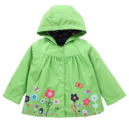FEITONG Girls Clothes Jacket Kids Cute Flower Raincoat Coat Hoode Outerwear Jacket(3-4T,Mint Green)