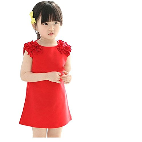 Shiny Toddler little Girl Kids Popular red flower Cotton Dress Party -
