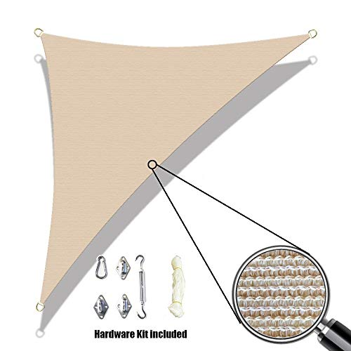 Alion Home Custom Sized Sun Shade Sail with 6 Stainless Steel Hardware Kit – Right Triangle 10 x 10 x 14 , Banha Beige