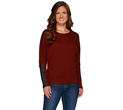 Lisa Rinna Collection Sweater Faux Leather A267484  Brick Red  M