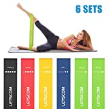 LETSCOM Resistance Bands, Exercise Loop Bands, 12'' Latex Elastic Bands for Stretching, Pilates and Home Fitness, 5 Stretch Levels Workout Bands with Carry Bag, EBook and Online Videos, Set of 6